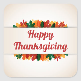 Colorful Leaves Happy Thanksgiving | Sticker Seal