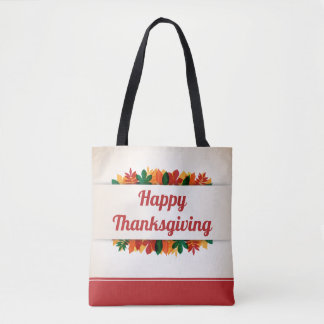 Colorful Leaves Happy Thanksgiving | Tote Bag