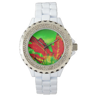Colorful Leaves Of Fall Rhinestone Watch