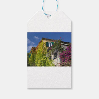 Colorful leaves on house gift tags