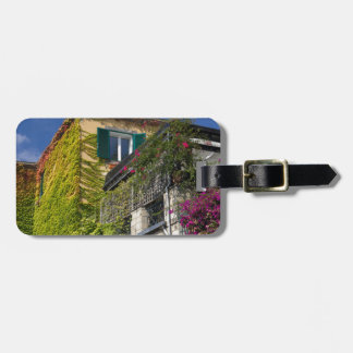 Colorful leaves on house luggage tag