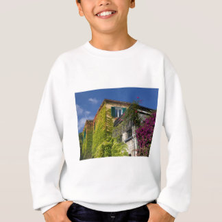 Colorful leaves on house sweatshirt