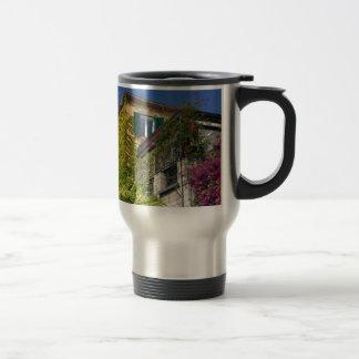 Colorful leaves on house travel mug