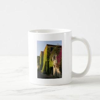 Colorful leaves on house walls coffee mug