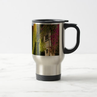 Colorful leaves on house walls travel mug