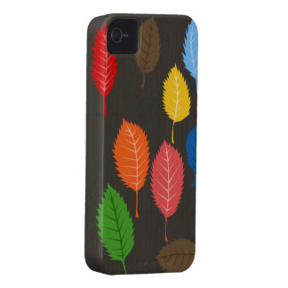 colorful leaves on woodgrain iPhone 4 cover