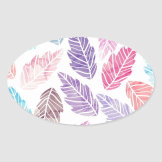 Colorful leaves oval sticker