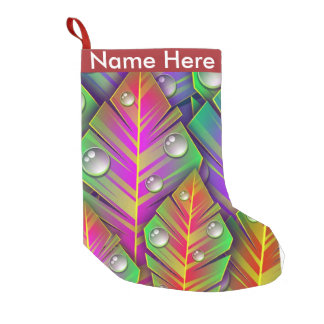 Colorful  leaves small christmas stocking