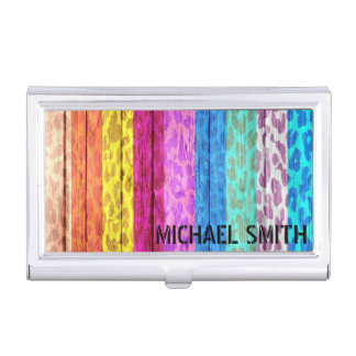 Colorful Leopard Print on Wood Business Card Holders