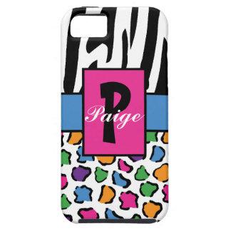 Colorful Leopard & Zebra Print Personalized iPhone 5 Case