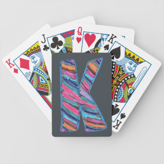 Colorful Letter K as in Kay on Dark Gray Bicycle Playing Cards