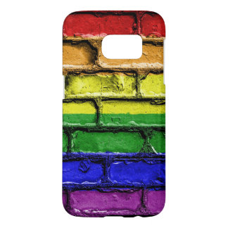 Colorful LGBT rainbow pride flag brick wall