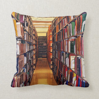 Colorful Library Books Throw Pillow