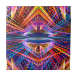 Colorful light beams pattern small square tile