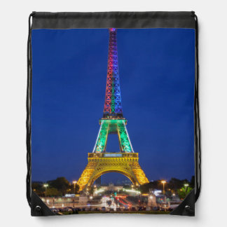 Colorful light display on the Eiffel Tower Backpacks