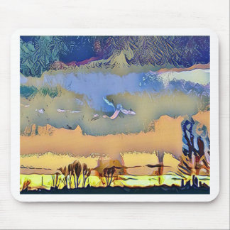 Colorful Light Fall Toned Abstract Horizon Sky Mouse Pad