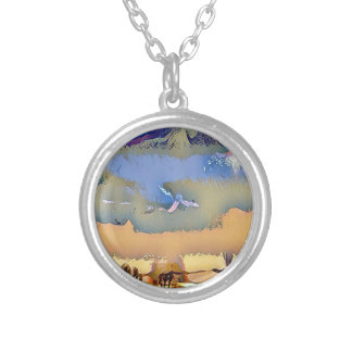 Colorful Light Fall Toned Abstract Horizon Sky Silver Plated Necklace