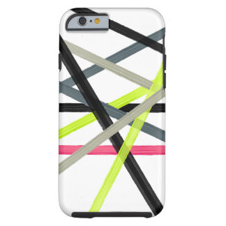 Colorful lime pink black acrylic stripes pattern tough iPhone 6 case