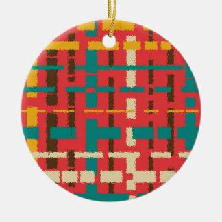 Colorful line segments round ceramic decoration