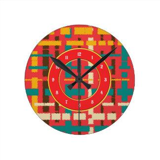 Colorful line segments round clock