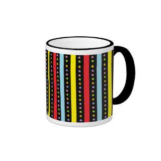 Colorful Lines and Stars Ringer Mug