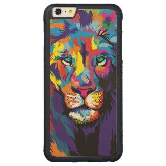 Colorful lion carved maple iPhone 6 plus bumper case