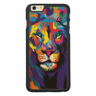Colorful lion carved maple iPhone 6 plus case