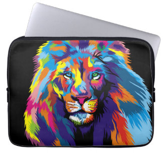 Colorful lion laptop computer sleeves