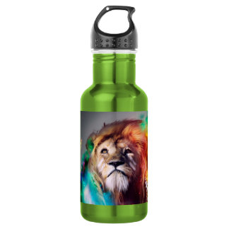 Colorful lion looking up Feathers Space Universe 532 Ml Water Bottle