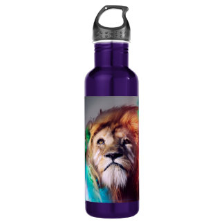 Colorful lion looking up Feathers Space Universe 710 Ml Water Bottle