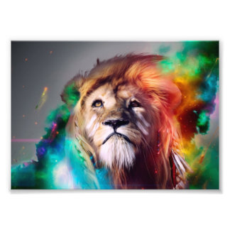 Colorful lion looking up Feathers Space Universe Art Photo