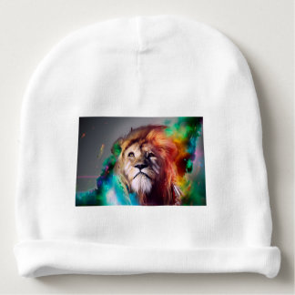 Colorful lion looking up Feathers Space Universe Baby Beanie