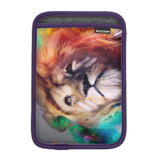 Colorful lion looking up Feathers Space Universe iPad Mini Sleeves