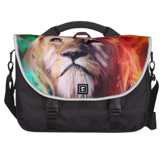 Colorful lion looking up Feathers Space Universe Computer Bag