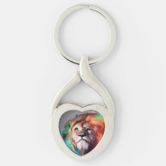 Colorful lion looking up Feathers Space Universe Silver-Colored Twisted Heart Keychain