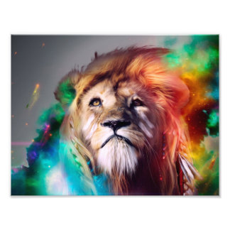 Colorful lion looking up Feathers Space Universe Photograph