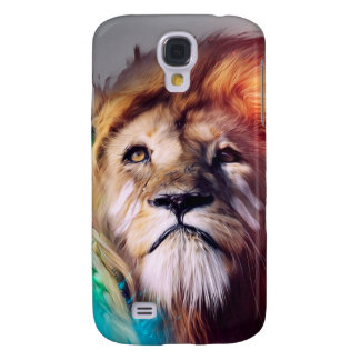 Colorful lion looking up Feathers Space Universe Samsung Galaxy S4 Cases