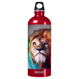 Colorful lion looking up Feathers Space Universe SIGG Traveller 1.0L Water Bottle