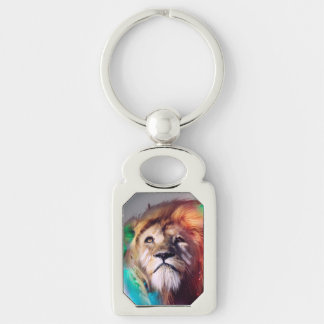 Colorful lion looking up Feathers Space Universe Silver-Colored Rectangle Key Ring