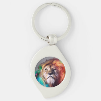 Colorful lion looking up Feathers Space Universe Silver-Colored Swirl Key Ring