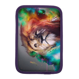 Colorful lion looking up Feathers Space Universe Sleeve For iPad Mini