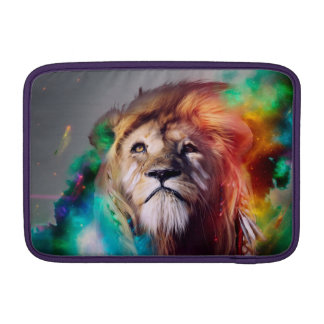 Colorful lion looking up Feathers Space Universe Sleeve For MacBook Air