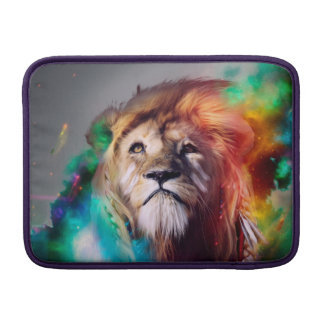 Colorful lion looking up Feathers Space Universe Sleeves For MacBook Air