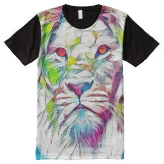 Colorful Lion of Judah Watercolor Art All-Over Print T-Shirt