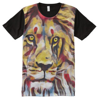 Colorful Lion Oil Paint Street Art All-Over Print T-Shirt