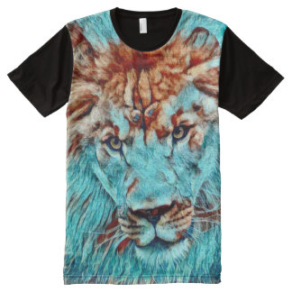Colorful Lion Power Totem Animal Art All-Over Print T-Shirt