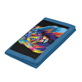 Colorful lion trifold wallet