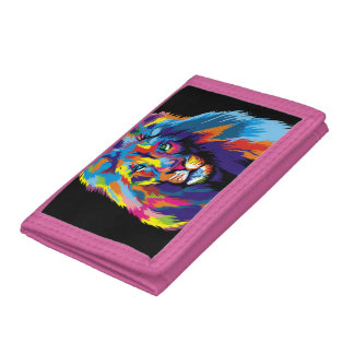 Colorful lion trifold wallets