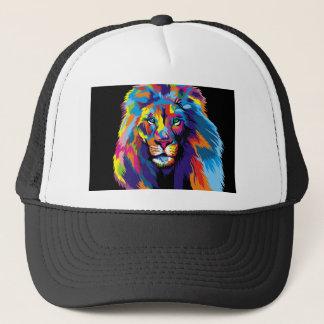 Colorful lion trucker hat