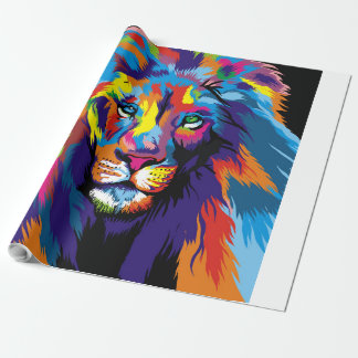 Colorful lion wrapping paper